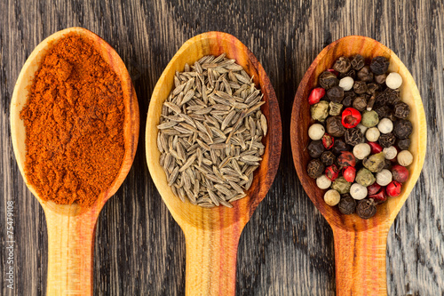 spices in spoons - 75479108