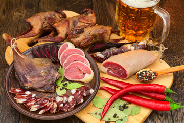 dried meat beer set with red pepper