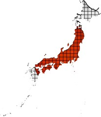 Japan map with flag inside