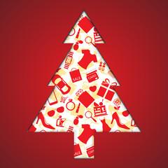 Christmas shopping tree Background