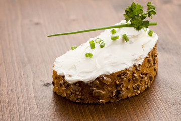 Slice of Bread with creme fraiche
