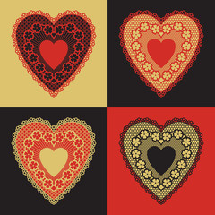 Set of four lace hearts on colorful backgrounds