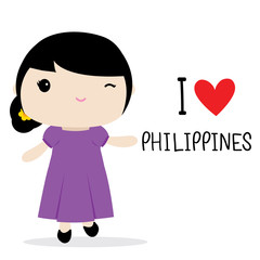 Philippines Women National Dress Cartoon Vector