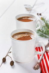 vintage hot Cup of cocoa or chocolate