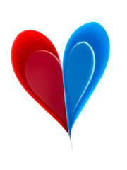 Paper heart, red and blue on white