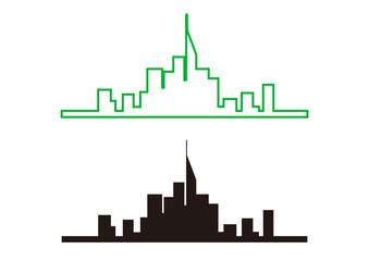 高層ビル群のイラスト素材