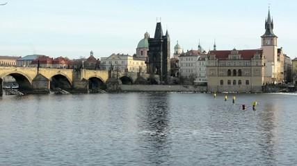 Charles bridge with people - Prague- city - river Vltava