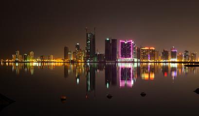 Night modern city skyline, Manama, Bahrain, Middle East