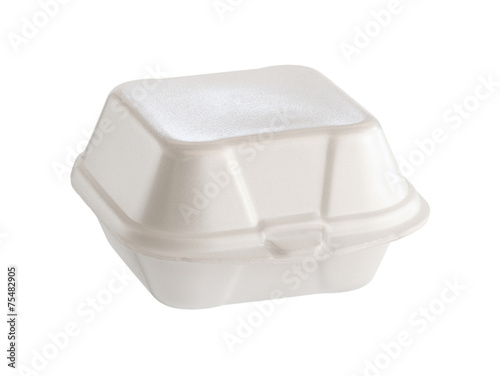Styrofoam box (with clipping path) isolated on white background - 75482905