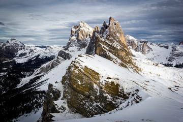 Seceda, Dolomites Alps with Snow, Italy