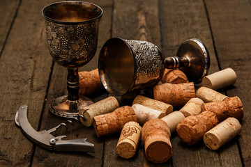 Medieval goblets and wine corks