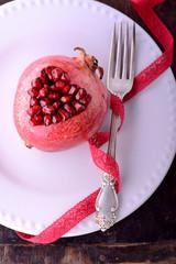 Heart shaped pomegranate seeds
