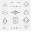 Set of geometric shapes, triangles, line design, vector - 75485124