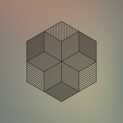 Abstract geometric element, line design, vector