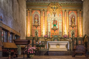 Old Mission Santa Barbara Church Interior Altar