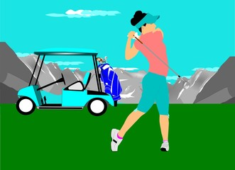 lady golfer with golf cart