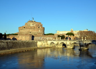 View of the castle  Sant'Angelo and bridge, Rome,  Italy