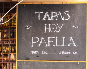 Exterior menu cartel in Barcelona - Spain