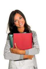 Studentin mit College Mappen