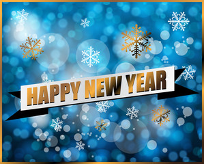 Happy new year label on blue bokeh vector
