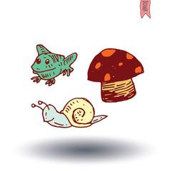 garden icon mushroom Hand drawn, vector illustration.