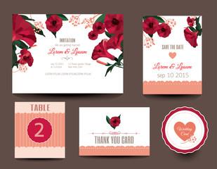 Set of wedding cards. Wedding invitations