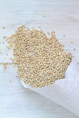 Pearl Barley on a vintage wooden background