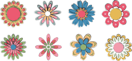 set of colorful flowers with pencil lines