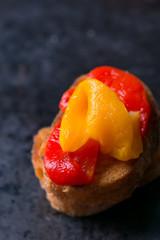 Bruschetta with grilled bell pepper