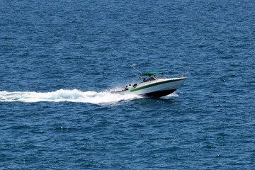 Speeding boat