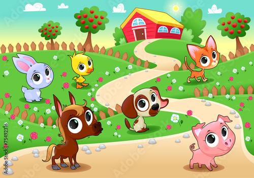 Foto op Canvas Boerderij Funny farm animals in the garden