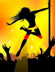 Dancing girl in night club