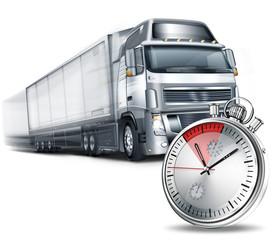 Track mit Auflieger, Transport mit Stoppuhr