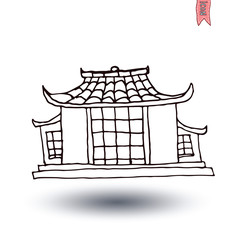 Chinese House icon, vector illustration.
