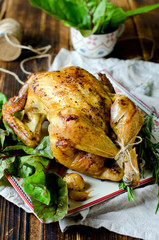 Chicken baked with spices and rosemary