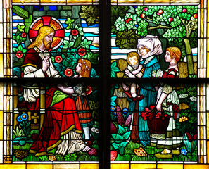 Jesus blessing children (stained glass window)