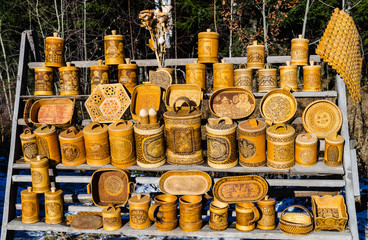 Products made of birch bark. Russian souvenir