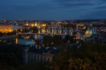 View of Prague bridges from Hanavsky Pavilion