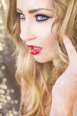 Beautiful Model Green Eyes Blond Hair