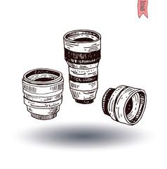 camera lens icon, vector illustration
