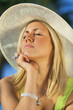Beautiful Woman Sun Hat Tanning