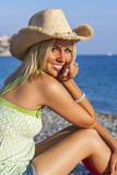 Blond Woman Girl Wearing Cowboy Hat on Beach