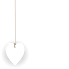 white heart hanging in rope