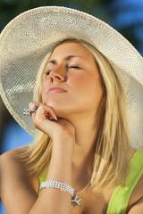 Beautiful Woman Sun Hat Tanning