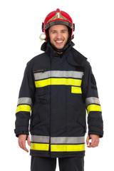 Portrait of smiling fireman.