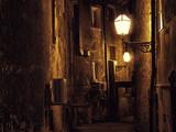 Fototapety Dark narrow street in Zagreb, Croatia