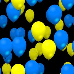 Blue yellow party balloons seamless pattern