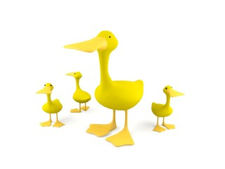 A group of yellow cartoon ducks