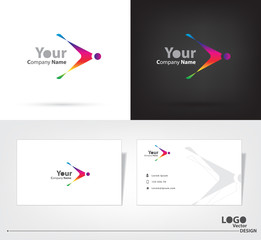 Abstract logo vector design with business card template.