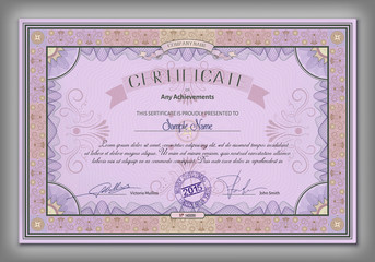 Vintage certificate template with detailed calligraphic border